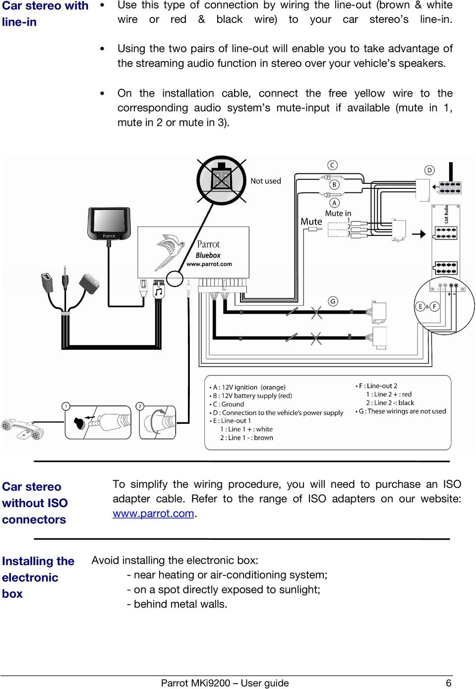 User Guide Parrot Mki9200 English 1 Pdf Wiring Diagram Nokia Car Kit On The Installation Cable Connect Free Yellow Wire To Corresponding Audio System S
