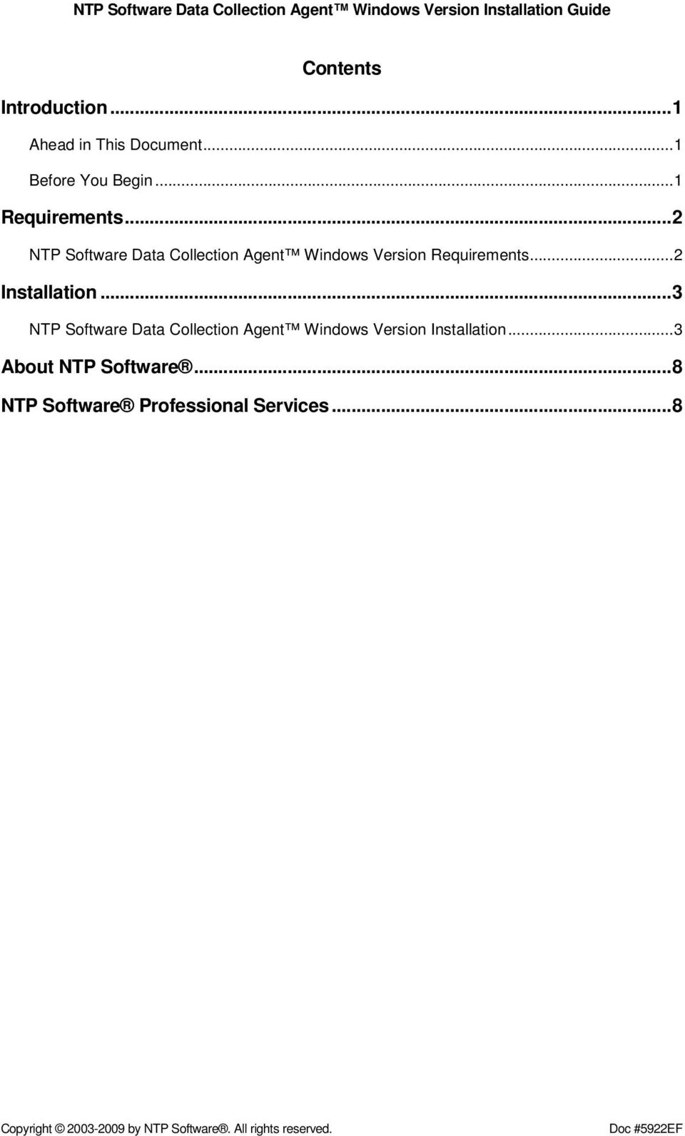 ..3 NTP Software Data Collection Agent Windows Version Installation...3 About NTP Software.