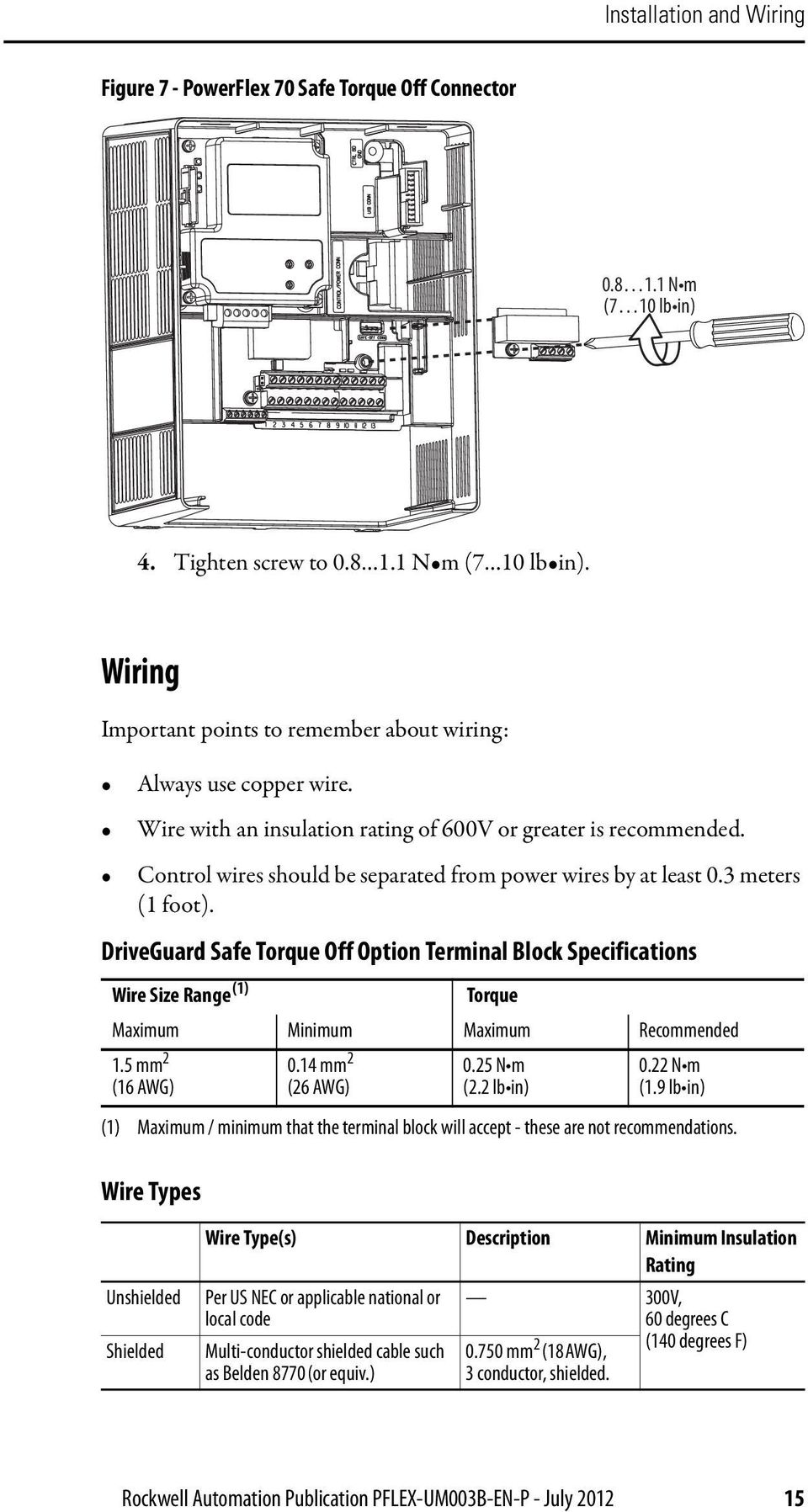 Safe Torque Off Option Series B For Powerflex 40p And 70 Wiring Diagram Driveguard Terminal Block Specifications Wire Size Range 1