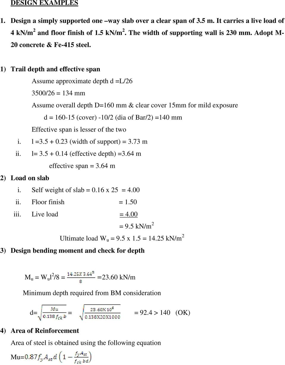 Design Of Slabs 3 Based On Support Or Boundary Condition Simply How To Draw Shear Force And Bending Moment Diagram For 1 Trail Depth Effective Span Assume Approximate D L 26 3500