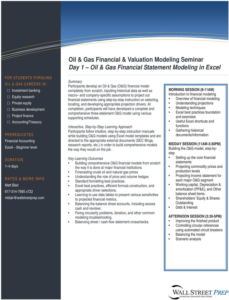 Oil & Gas Financial & Valuation Modeling Seminar - PDF