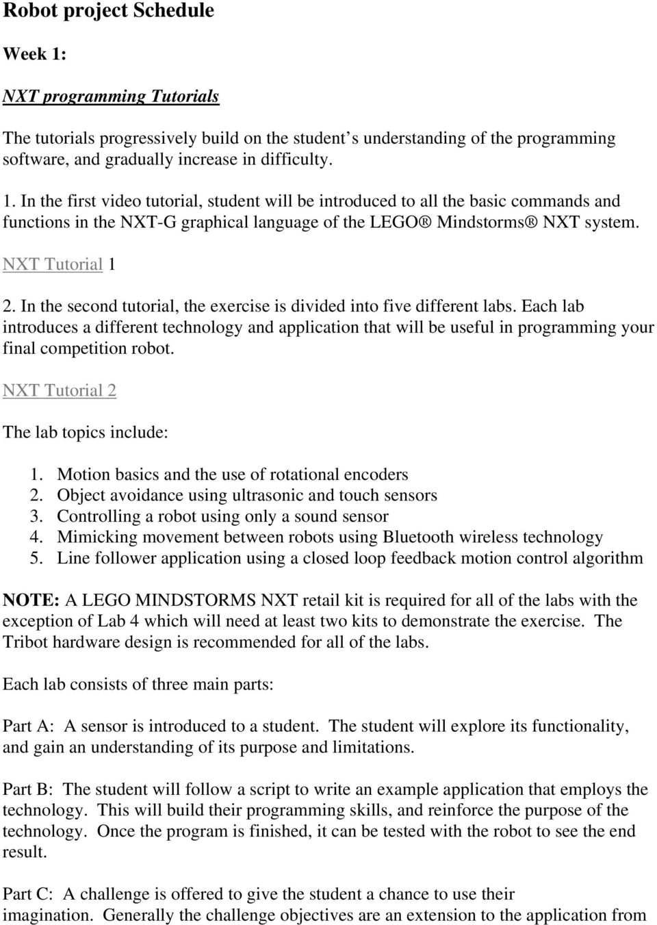 NXT Robot Challenge  Introduction  Educational Goals  References - PDF