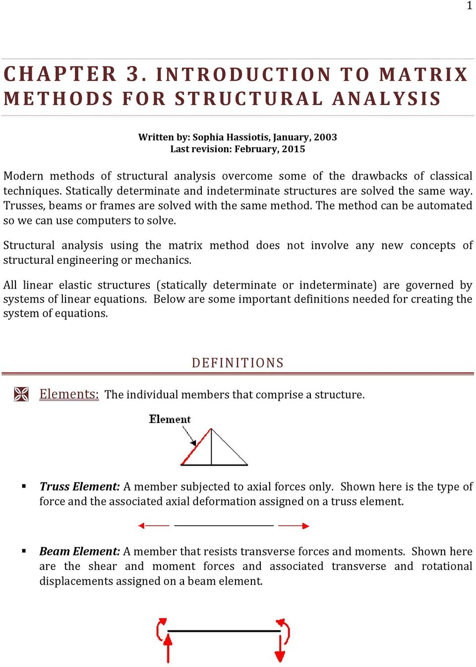 CHAPTER 3  INTRODUCTION TO MATRIX METHODS FOR STRUCTURAL