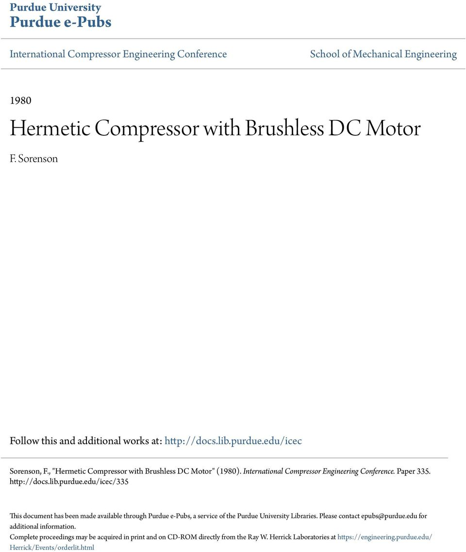 Hermetic Compressor with Brushless DC Motor - PDF