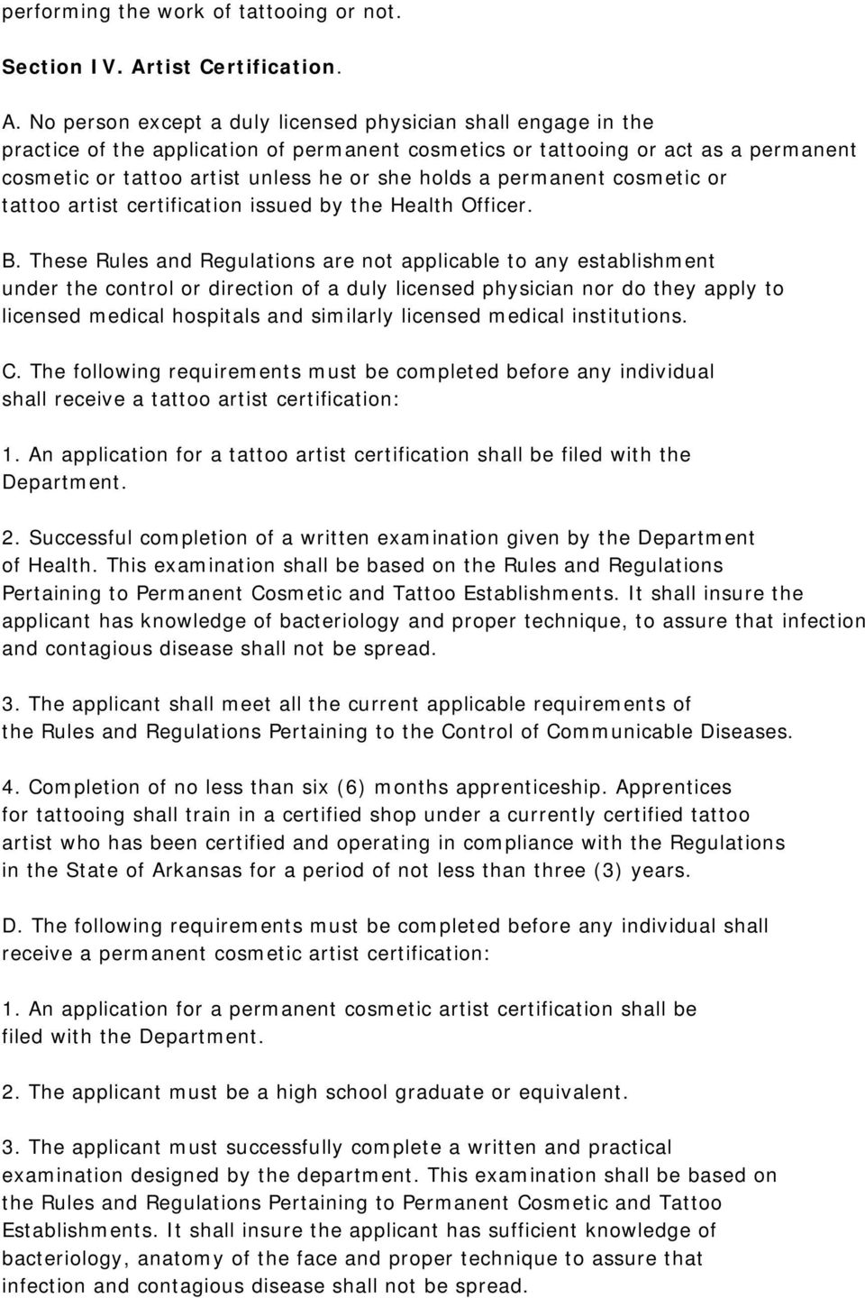 Rules And Regulations Pertaining To Permanent Cosmetic And Tattoo