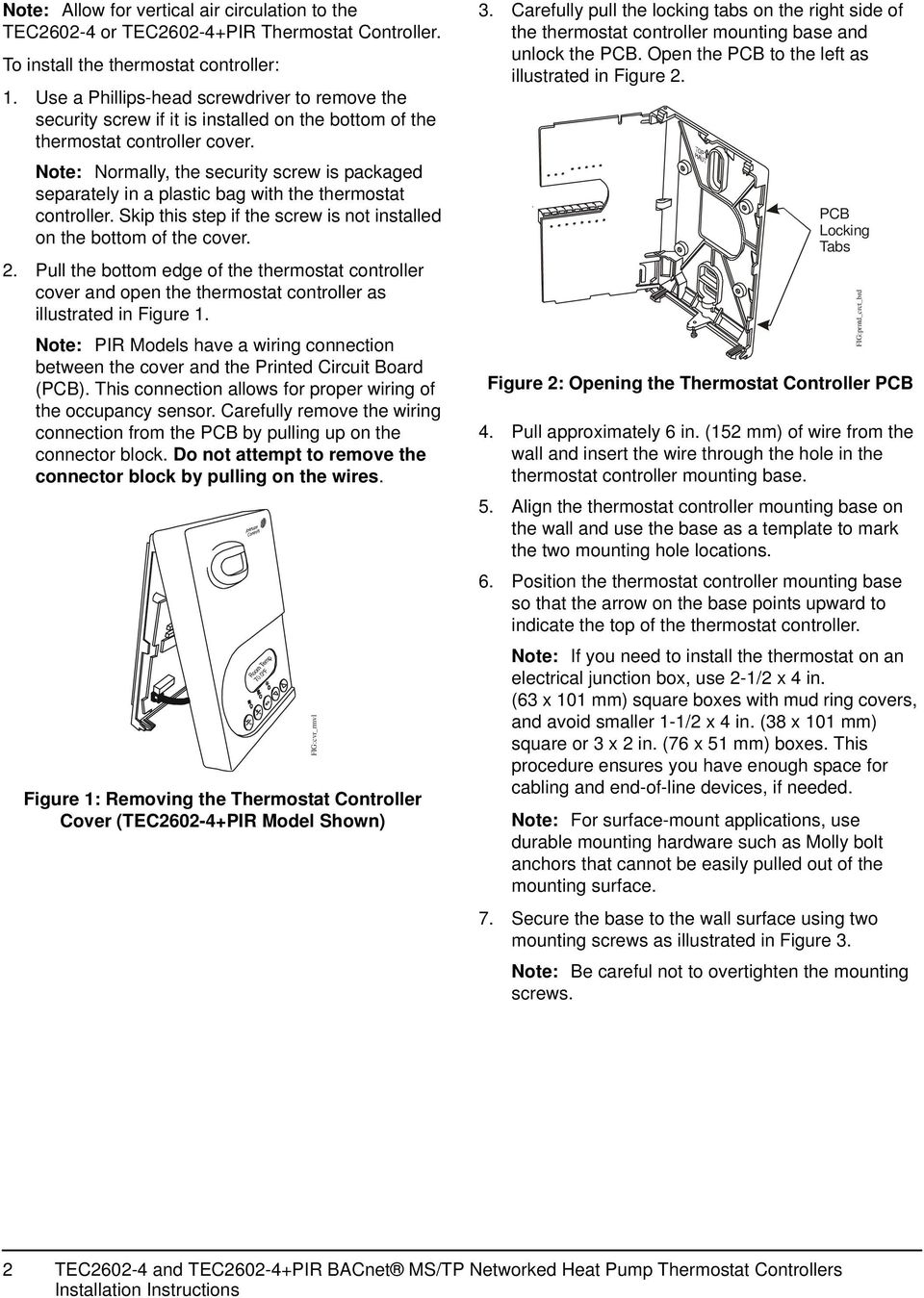 Tec And Pir Bacnet Ms Tp Networked Heat Pump Thermostat Alarm Wiring Instructions Note Normally The Security Screw Is Packaged Separately In A Plastic Bag With