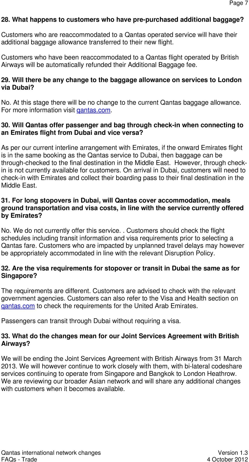 Qantas International Network Changes Frequently Asked