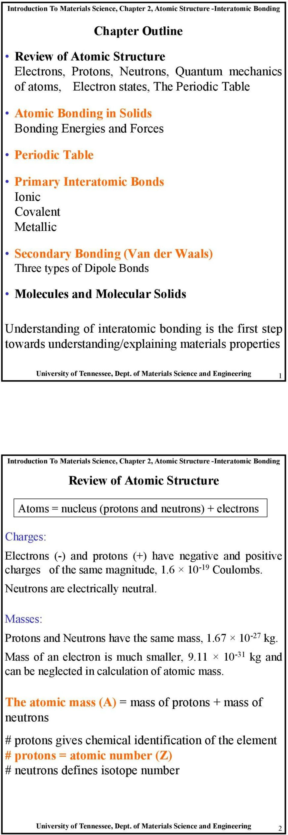 Chapter Outline Review Of Atomic Structure Electrons Protons