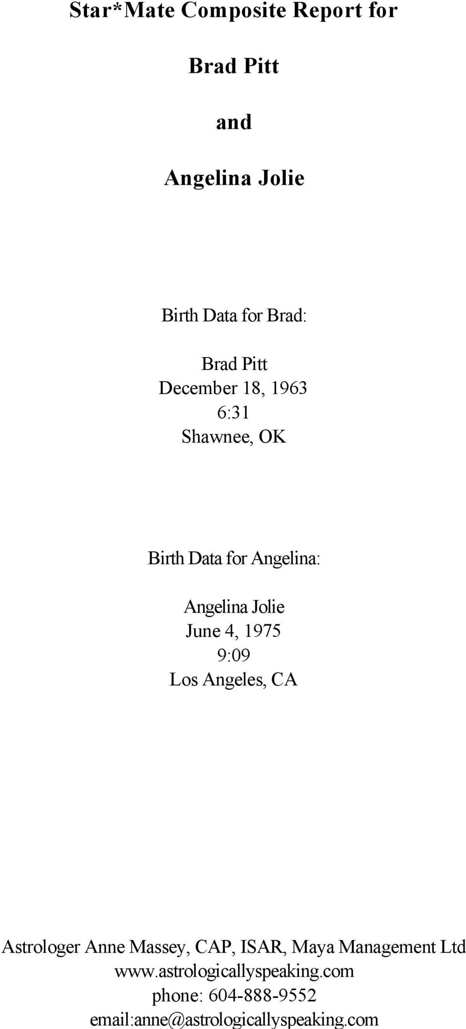 Star*Mate Composite Report for  Brad Pitt  and  Angelina