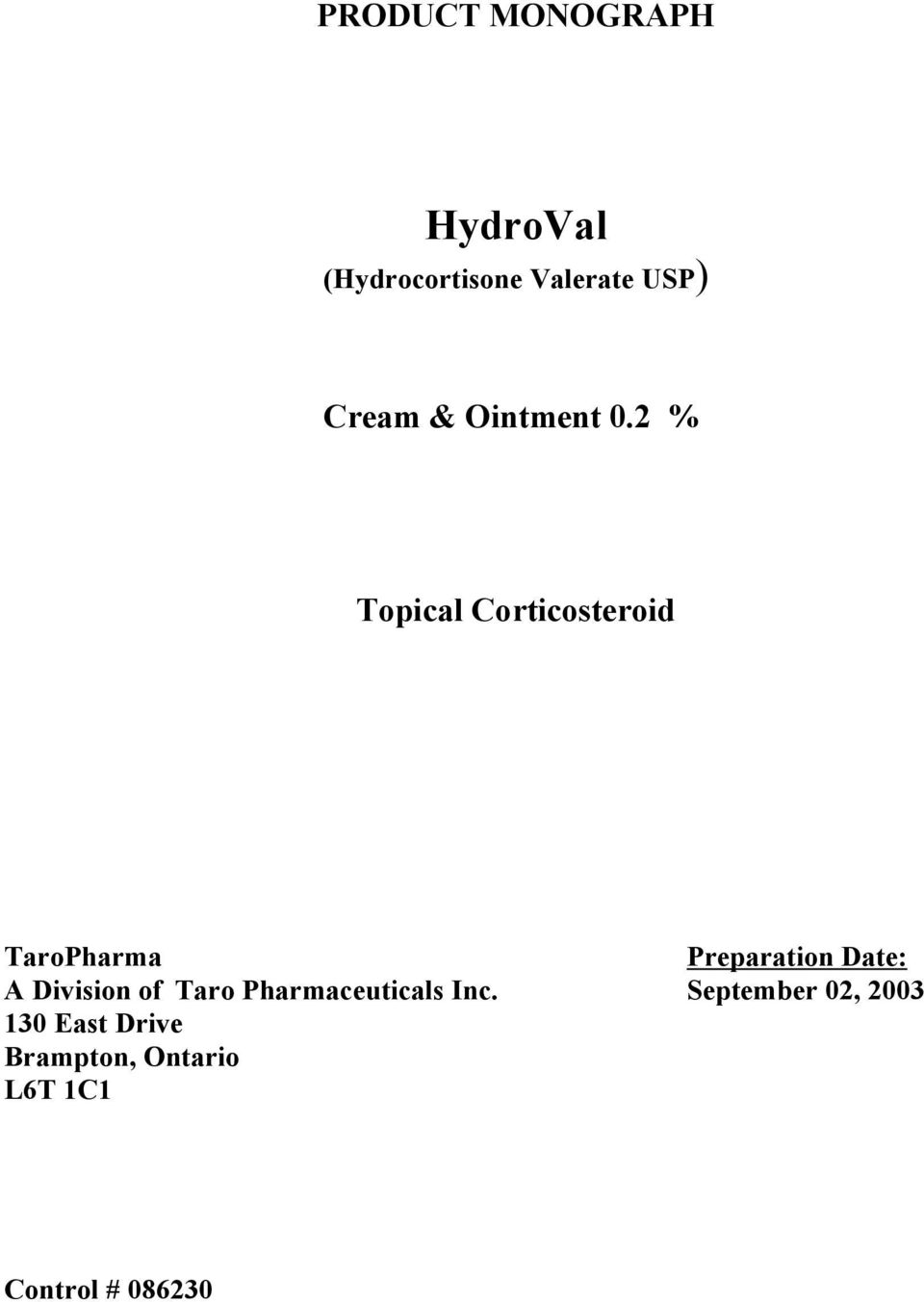 PRODUCT MONOGRAPH  HydroVal  (Hydrocortisone Valerate USP) Cream