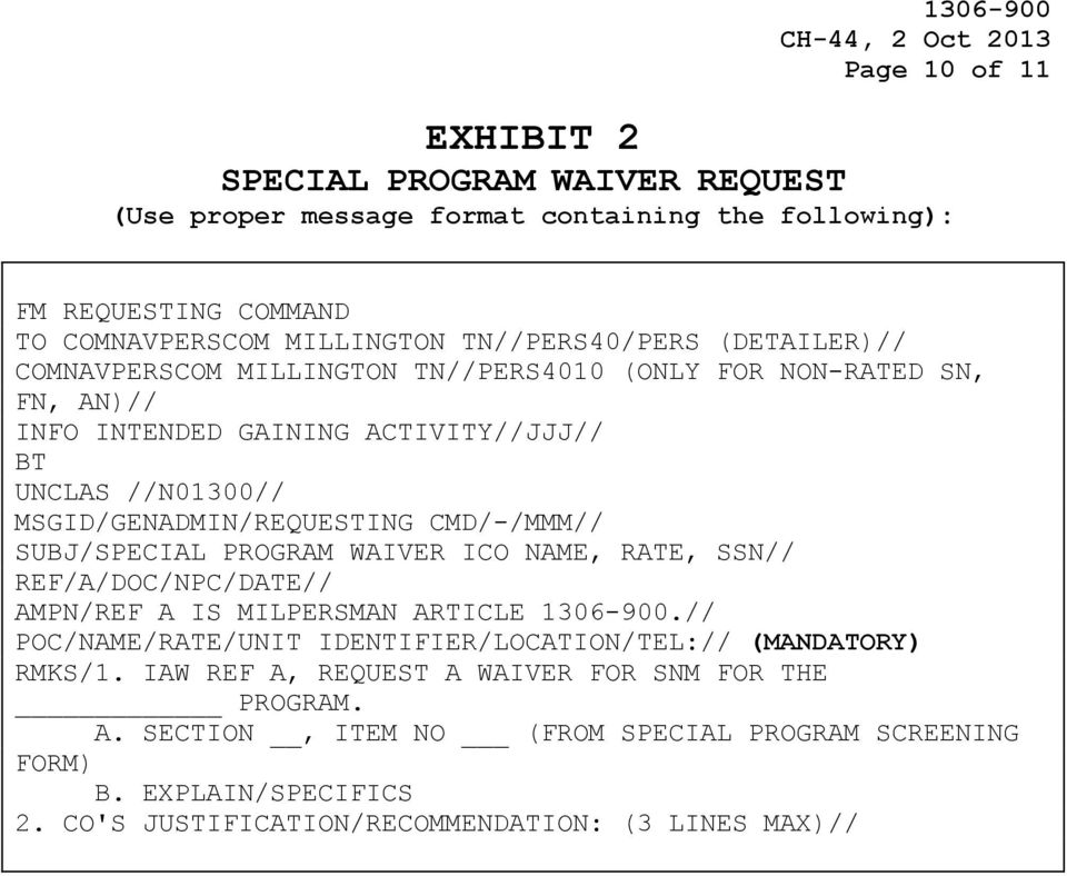MILPERSMAN ASSIGNMENT OF ENLISTED PERSONNEL TO SPECIAL