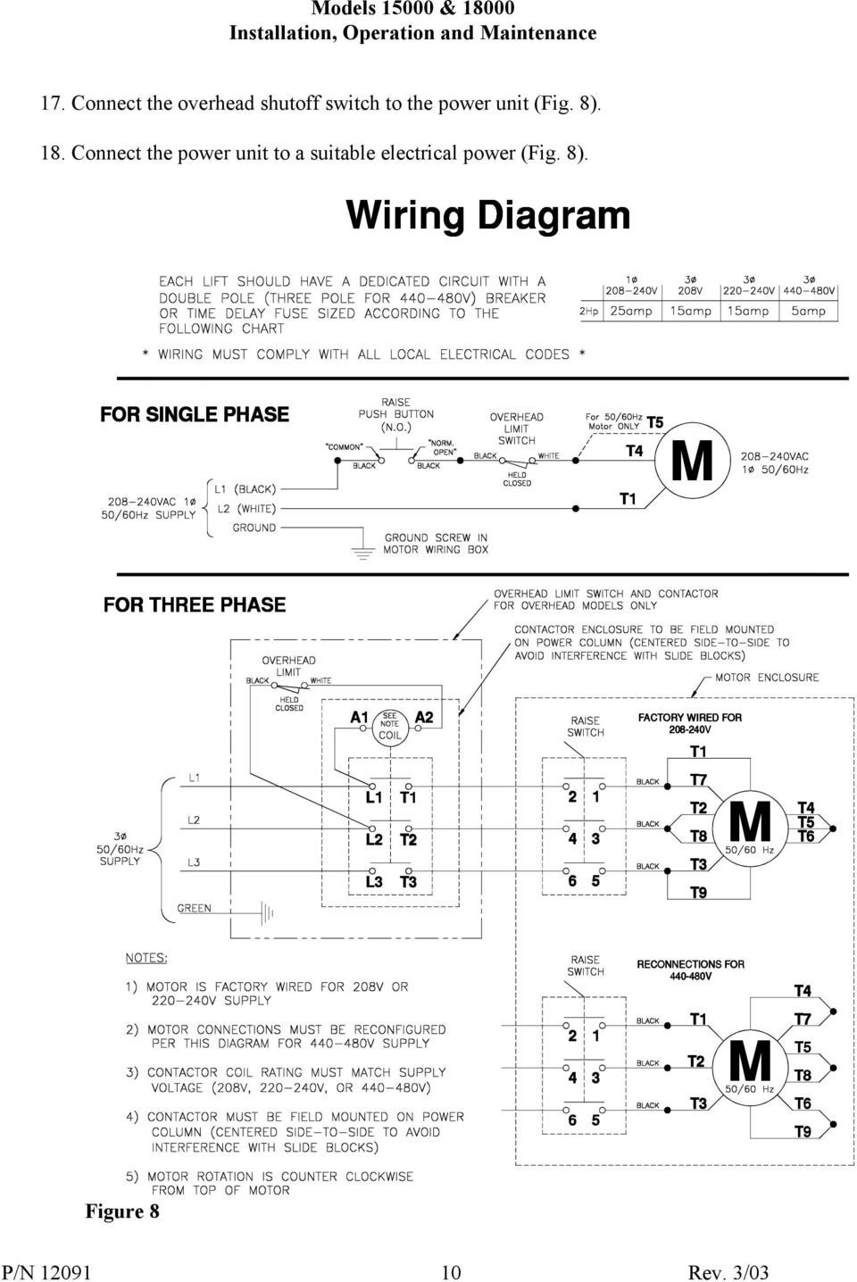 Challenger Lifts Inc Models Pdf Single Phase 220 Wiring Diagram For T5 T4 T1 M Three A1 A2 Factory Wired