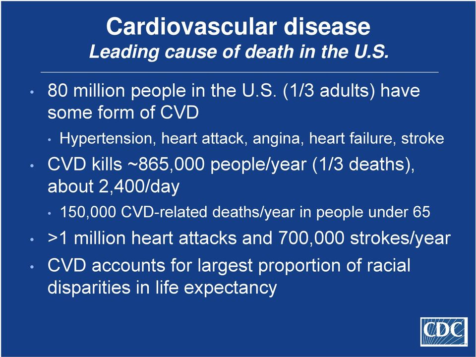 (1/3 adults) have some form of CVD Hypertension, heart attack, angina, heart failure, stroke CVD kills