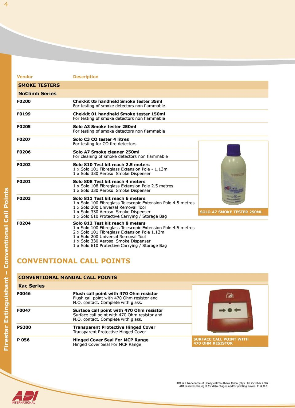 250ml For cleaning of smoke detectors non flammable Solo 810 Test kit reach  2.5 meters 1