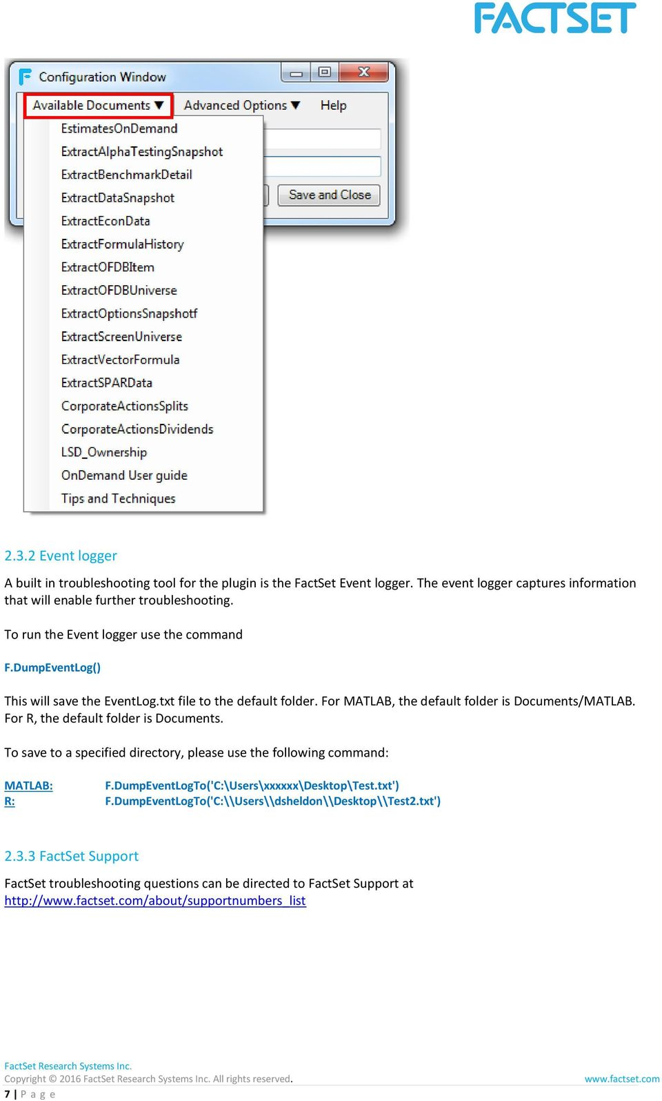 FactSet OnDemand UserGuide for MATLAB and R - PDF