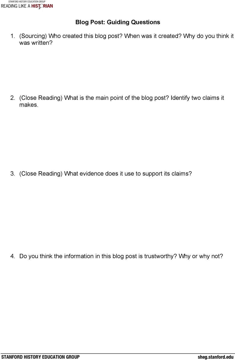 (Close Reading) What is the main point of the blog post? Identify two claims it makes. 3.