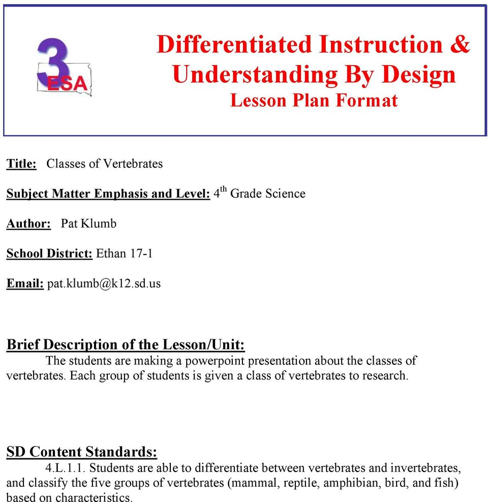 Differentiated Instruction Understanding By Design Lesson Plan Format Pdf Free Download