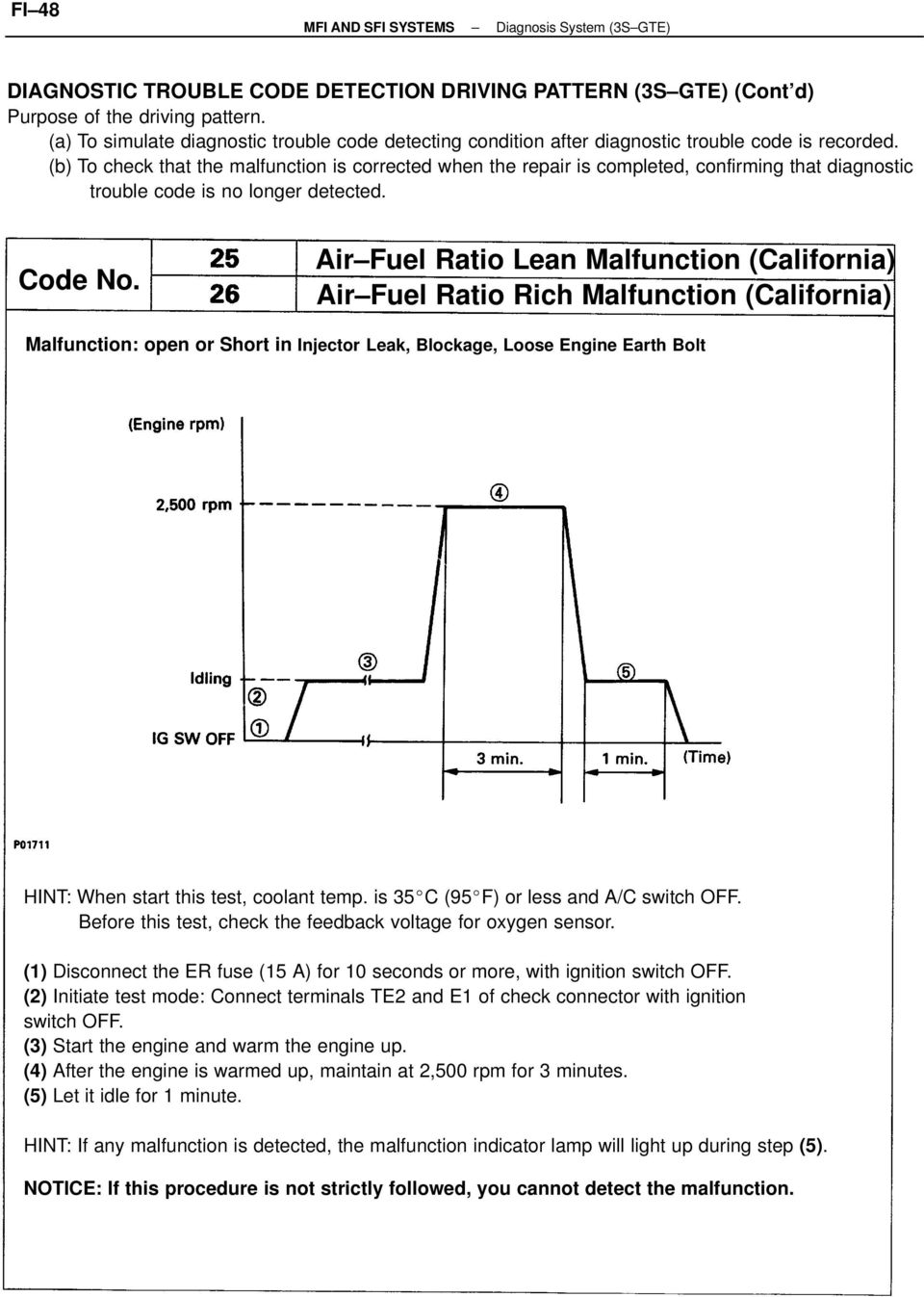 Toyota Sienna Service Manual: Insufficient Coolant Temperature for Closed Loop Fuel Control