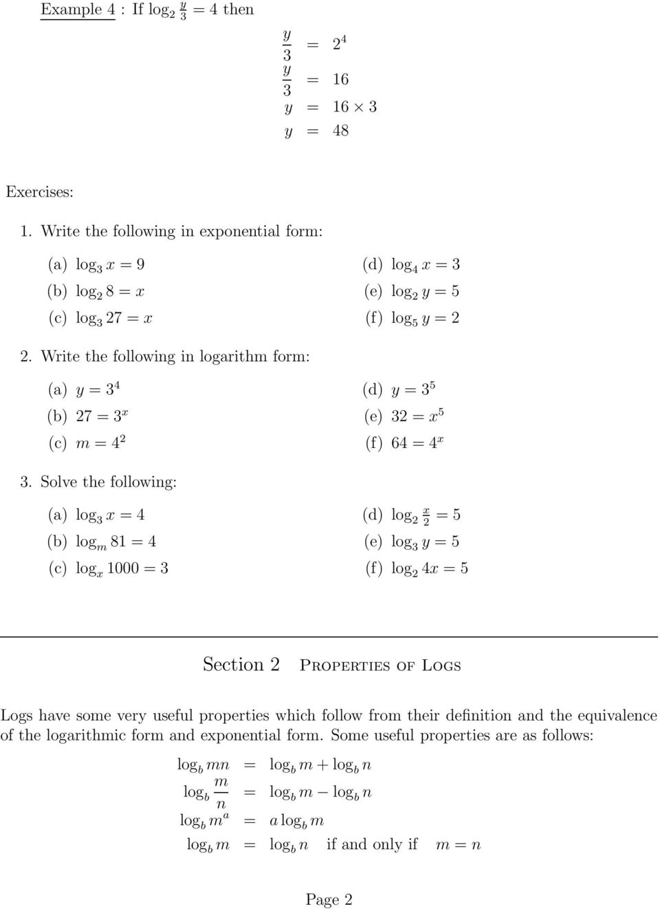 Section 1 Logarithms Pdf
