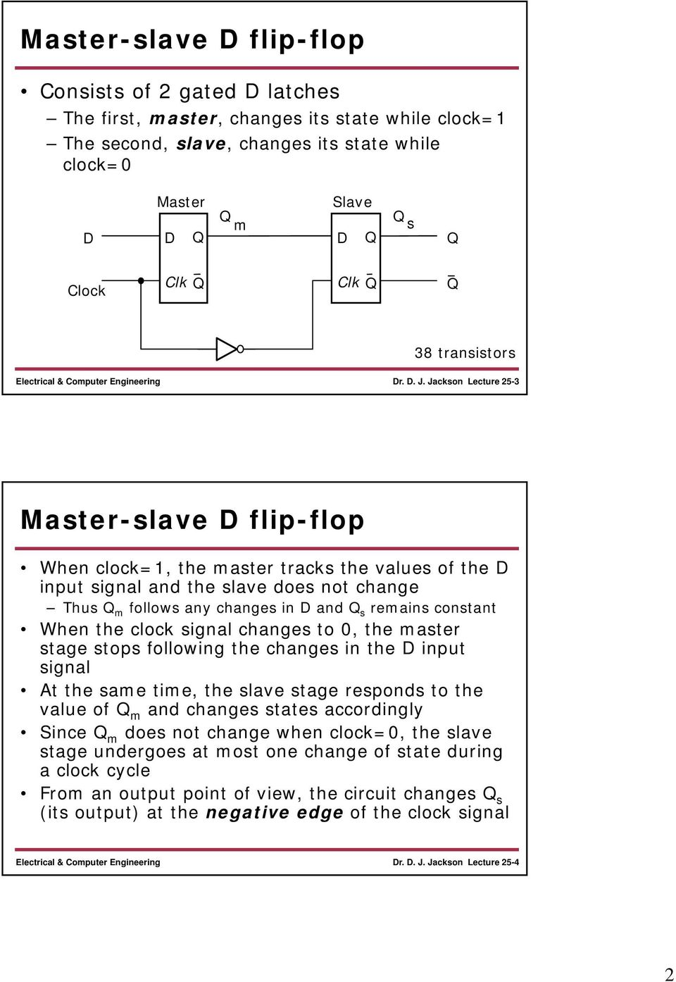signal changes to, the master stage stops following the changes in the input signal At the same time, the slave stage responds to the value of m and changes states accordingly Since m does not