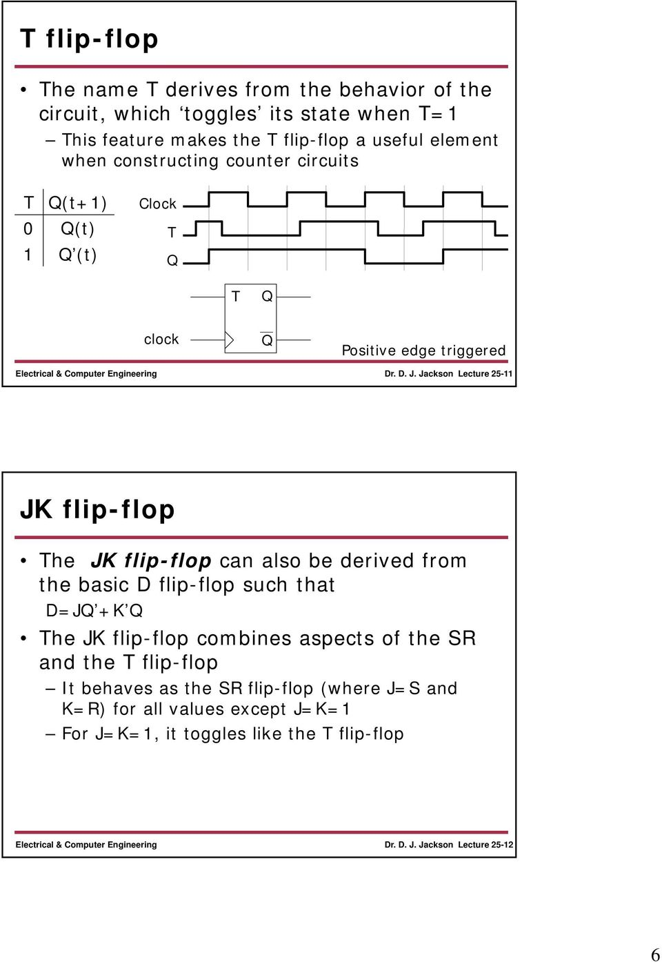Jackson Lecture 25- JK flip-flop The JK flip-flop can also be derived from the basic flip-flop such that =J +K The JK flip-flop combines
