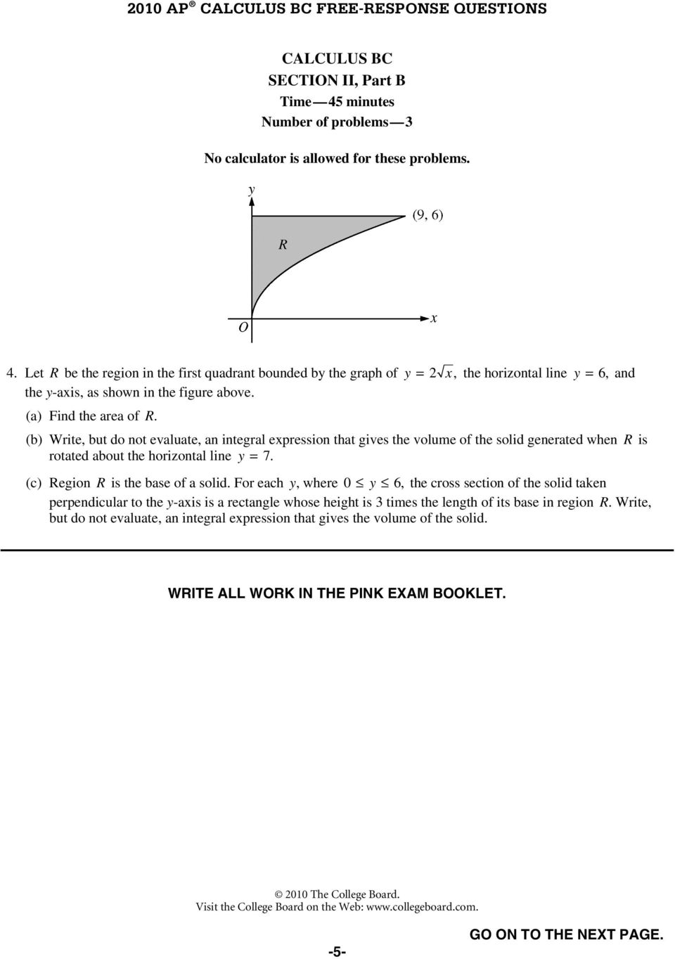 Ap Calculus Bc 2010 Free Response Questions Pdf Free Download