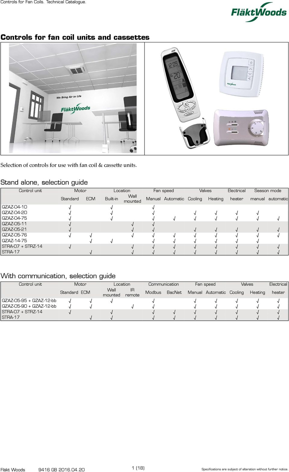 Controls for fan coil units and cassettes - PDF