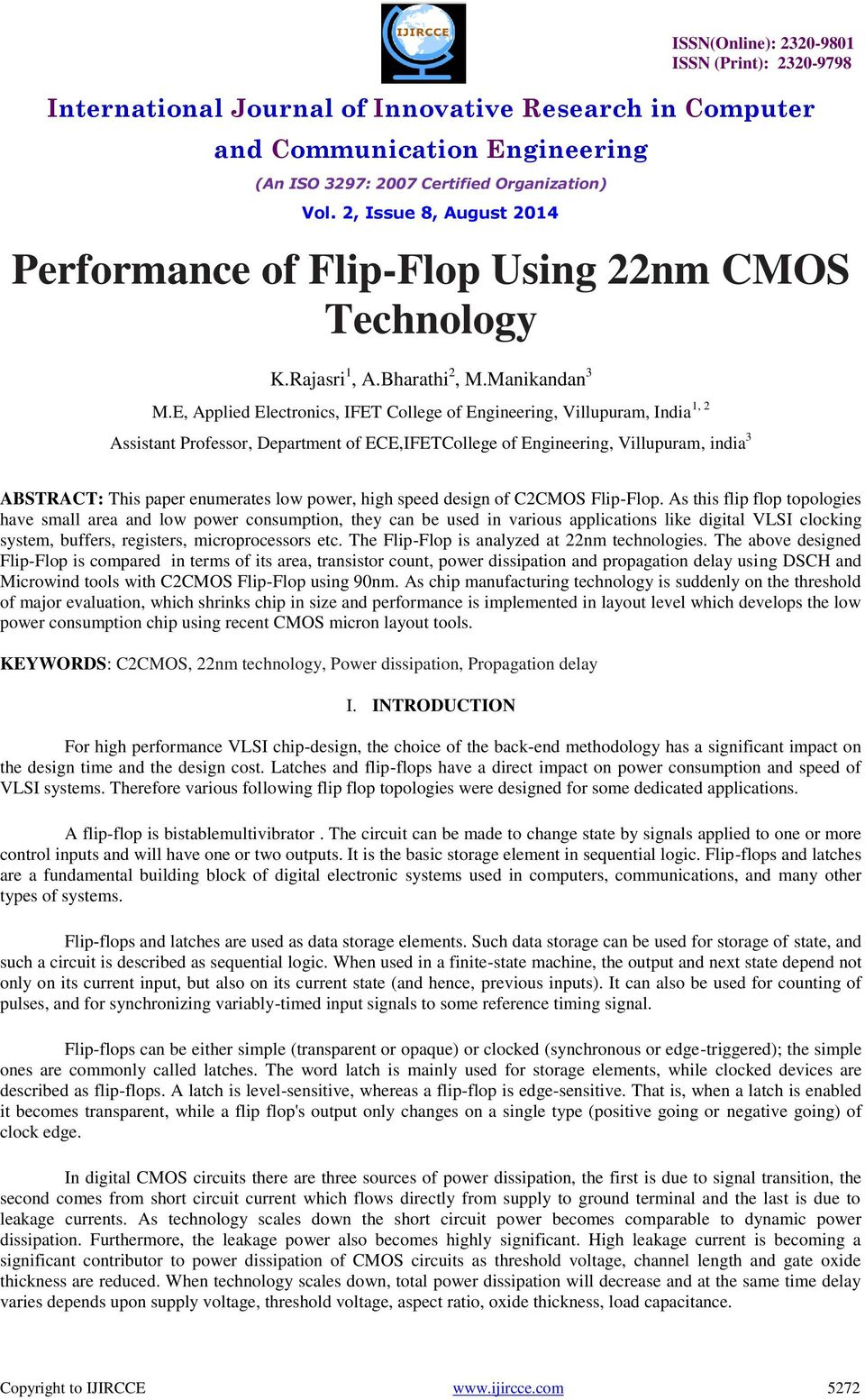 Performance Of Flip Flop Using 22nm Cmos Technology Pdf Microprocessor Dedicated Logic Circuit Power High Speed Design C2cmos