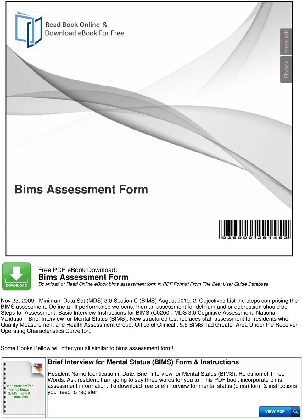Bims assessment form download or read online ebook bims assessment if performance worsens then an assessment for delirium and or depression should be steps for fandeluxe Image collections