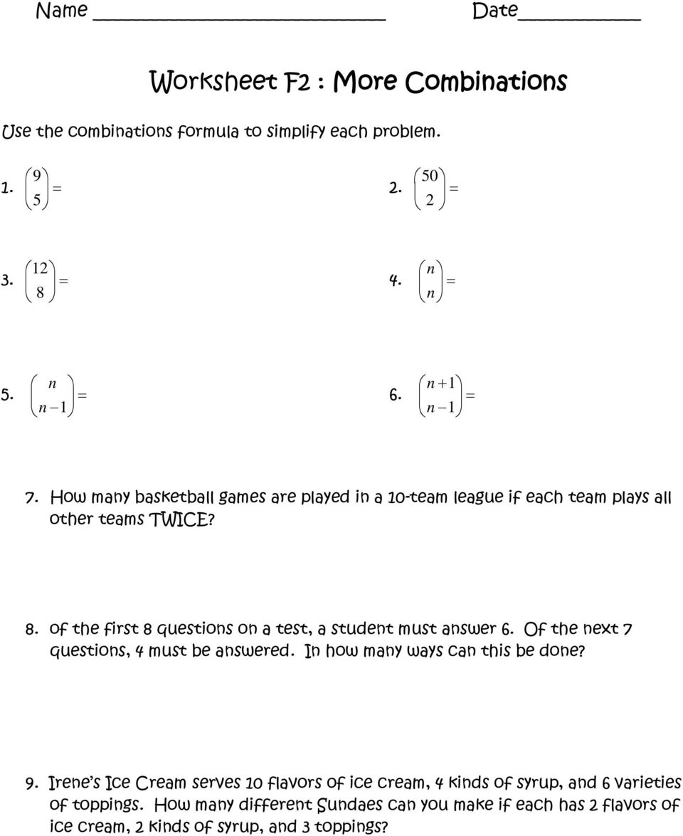 Workbooks worksheets on squares and square roots : Worksheet A2 : Fundamental Counting Principle, Factorials ...