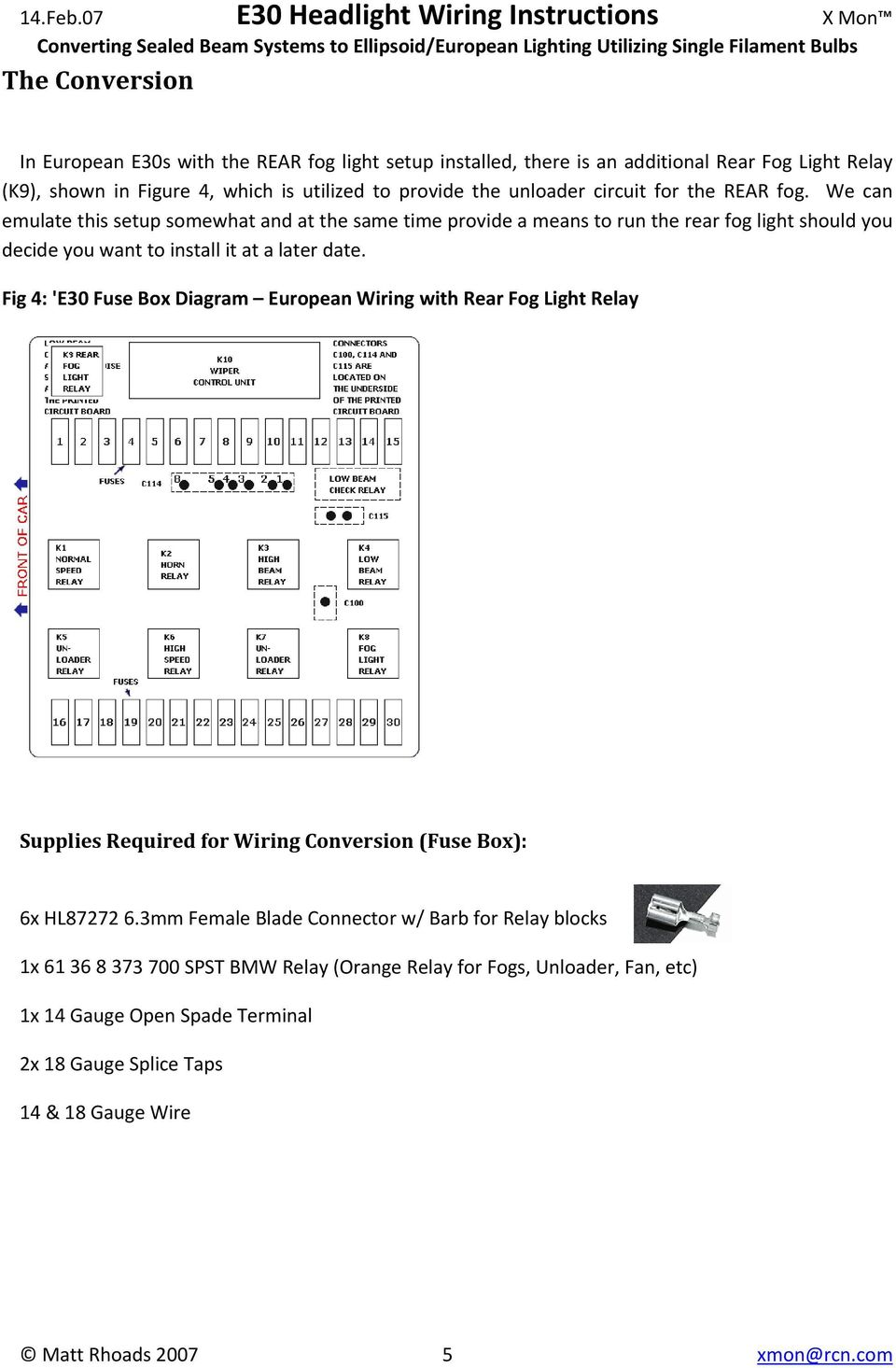 E30 Headlight Wiring Instructions Converting Sealed Beam Systems To 2007 Toyota Fj Cruiser Fuse Box Diagram Fig 4 European With Rear Fog Light Relay Supplies