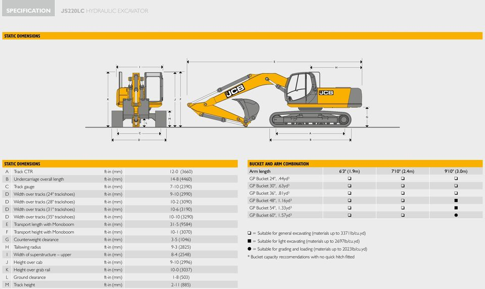 HYDRAULIC EXCAVATOR JS220LC Engine power: 173hp (129kW) Bucket