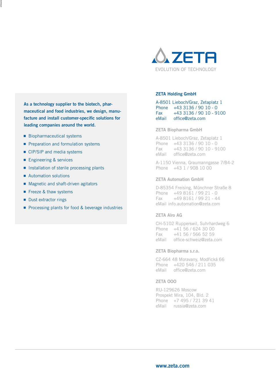 Zeta magnetic agitators  For applications in sterile process