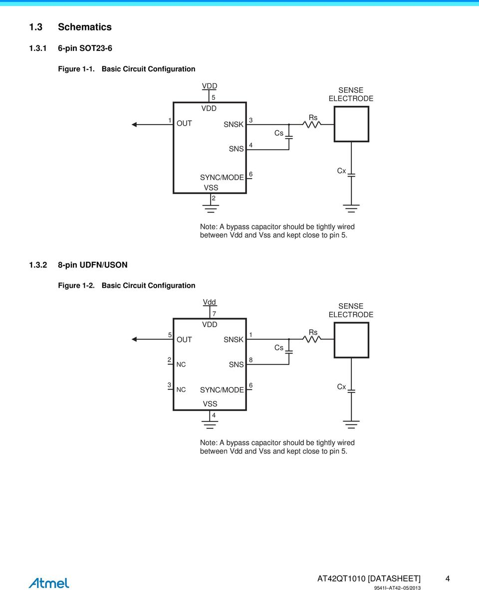 Atmel At42qt1010 Single Key Qtouch Touch Sensor Ic Datasheet Metal Detector Circuit Diagram 6 Basiccircuit Capacitor Should Be Tightly Wired Between Vdd And Vss Kept Close To Pin 5