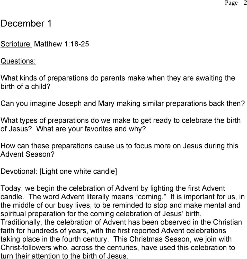 How can these preparations cause us to focus more on Jesus during this Advent Season?