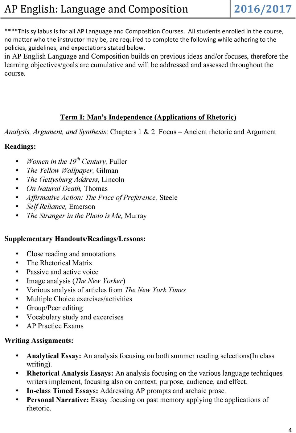 ap language and composition analysis essay