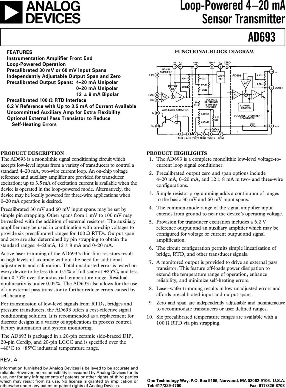 Loop Powered 4 20 Ma Sensor Transmitter Ad693 Pdf Analog Signal Isolator 20ma Generator Schematic 5 Of Current Available Uncommitted Auxiliary Amp For Extra Flexibility Optional External Pass Transistor To