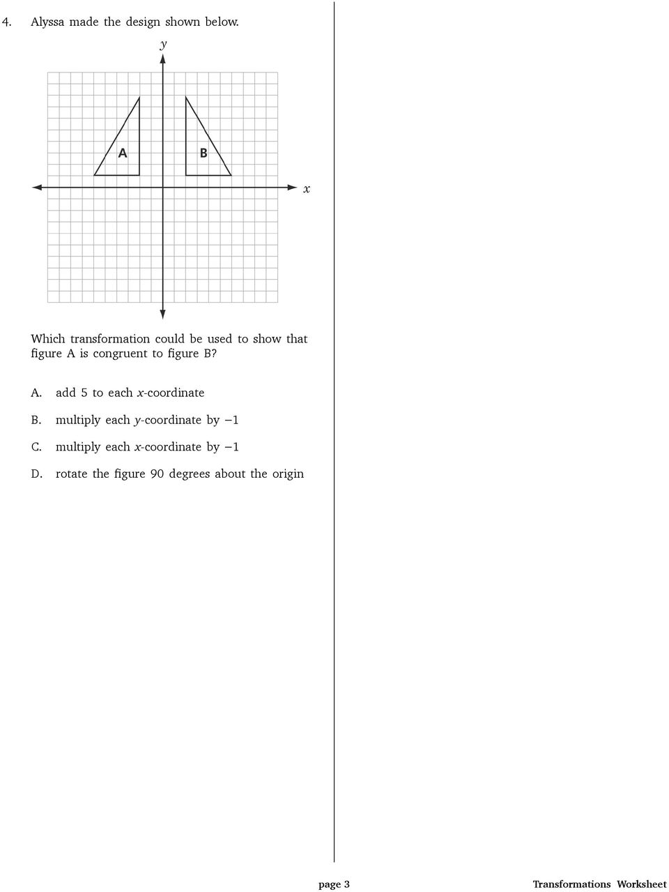 Transformations Worksheet How Many Units And In Which Direction