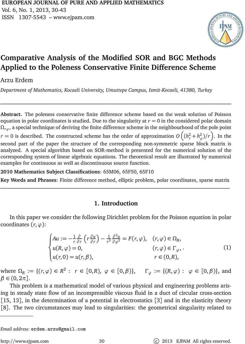 Comparative Analysis of the Modified SOR and BGC Methods
