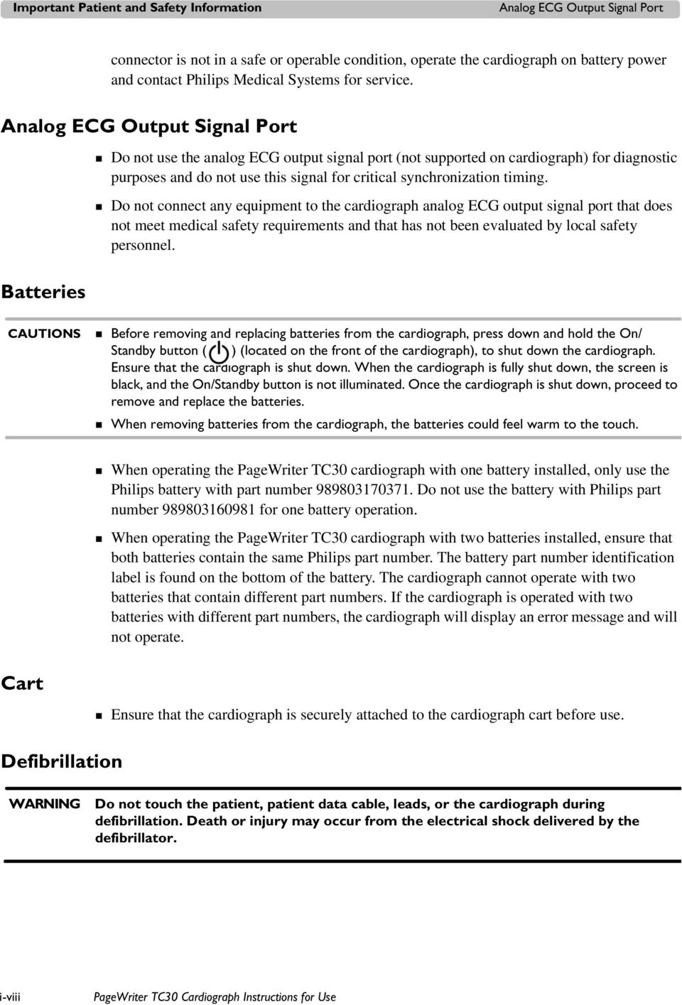 PageWriter TC30 Cardiograph INSTRUCTIONS FOR USE - PDF
