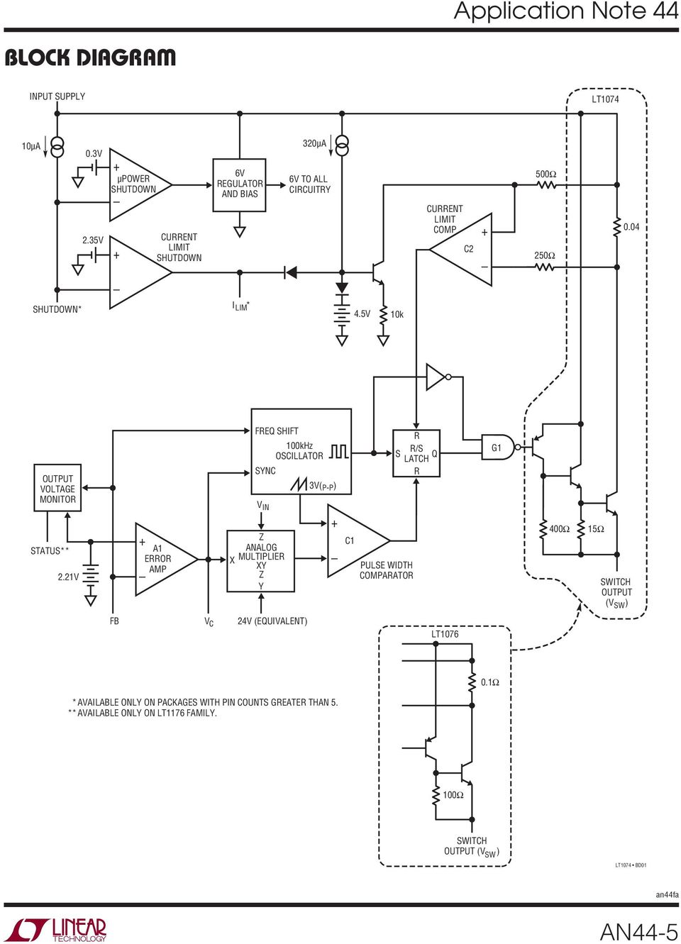Application Note 44 September Lt1074 Lt1076 Design Manual An44 1 National Lm555 Datasheet Replacement For Se555 Ne555 Series And The Connection Diagram 4 Shutdown I Lim 45v 1k Output Voltage Monitor Freq Shift Sync V