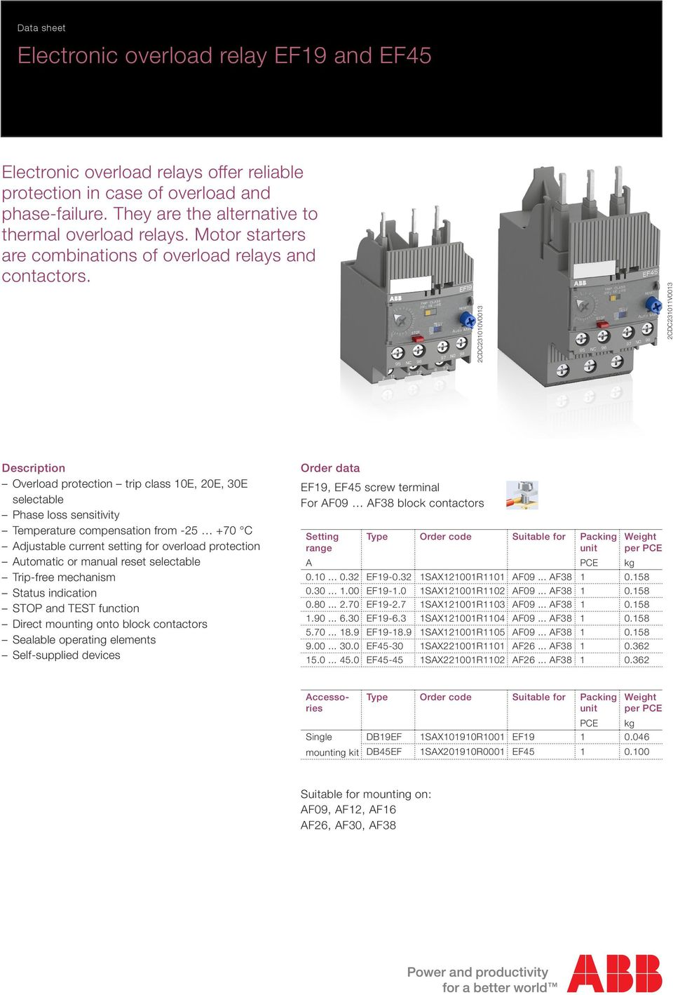 Electronic Overload Relay Ef19 And Ef45 Pdf Abb Solid State 2cdc231010v0013 2cdc231011v0013 Description Protection Trip Class 10e 20e 30e Selectable Phase Loss Sensitivity