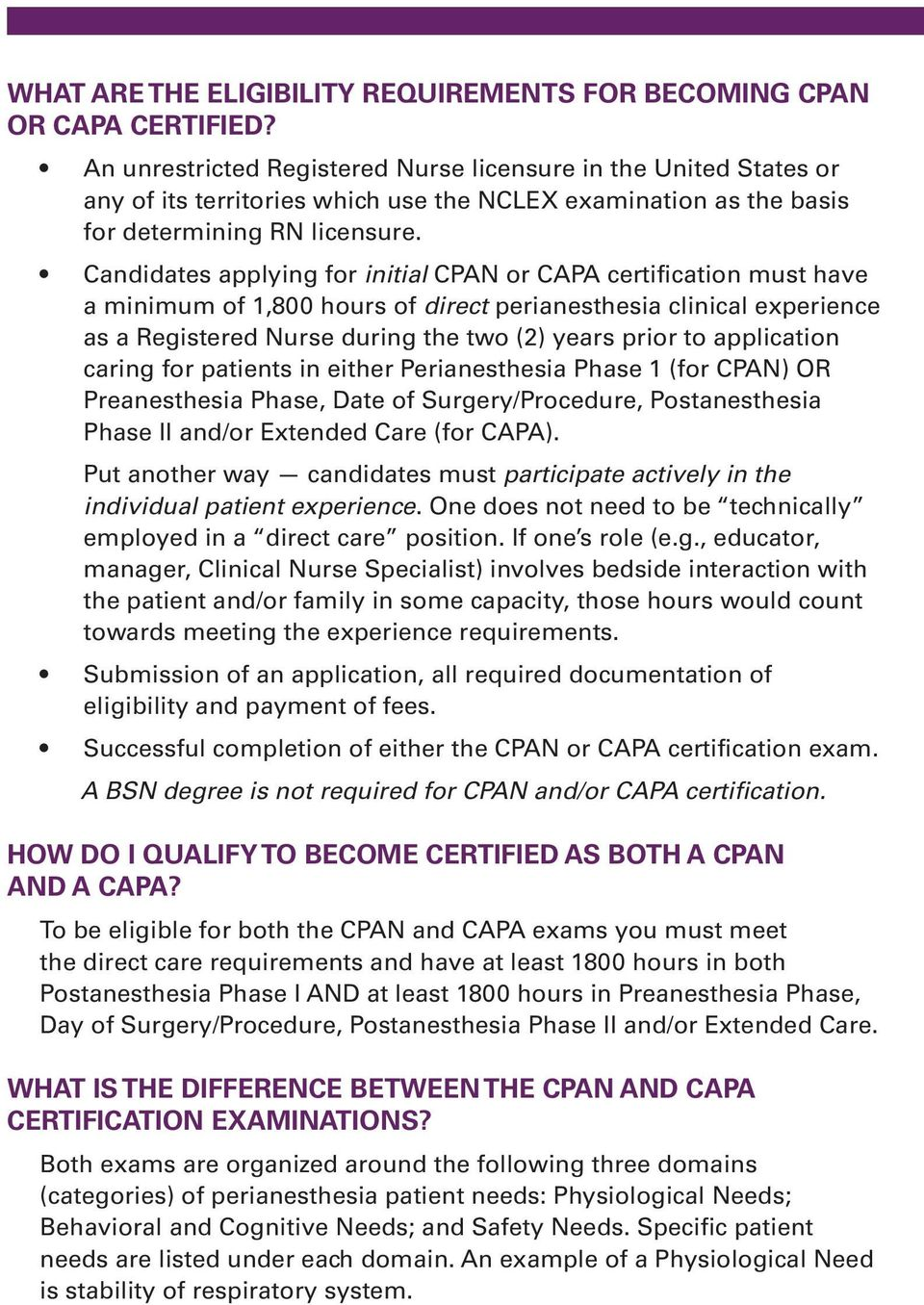 Cpan And Capa Certification Programs For Perianesthesia Nurses Qa