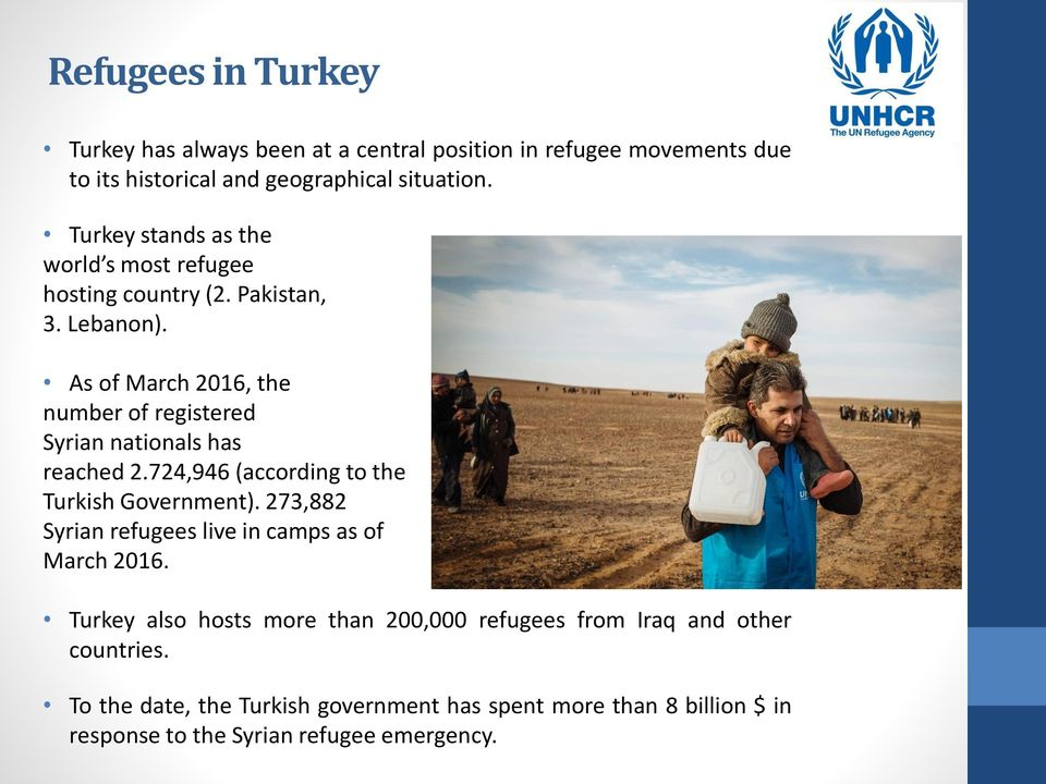 As of March 2016, the number of registered Syrian nationals has reached 2.724,946 (according to the Turkish Government).