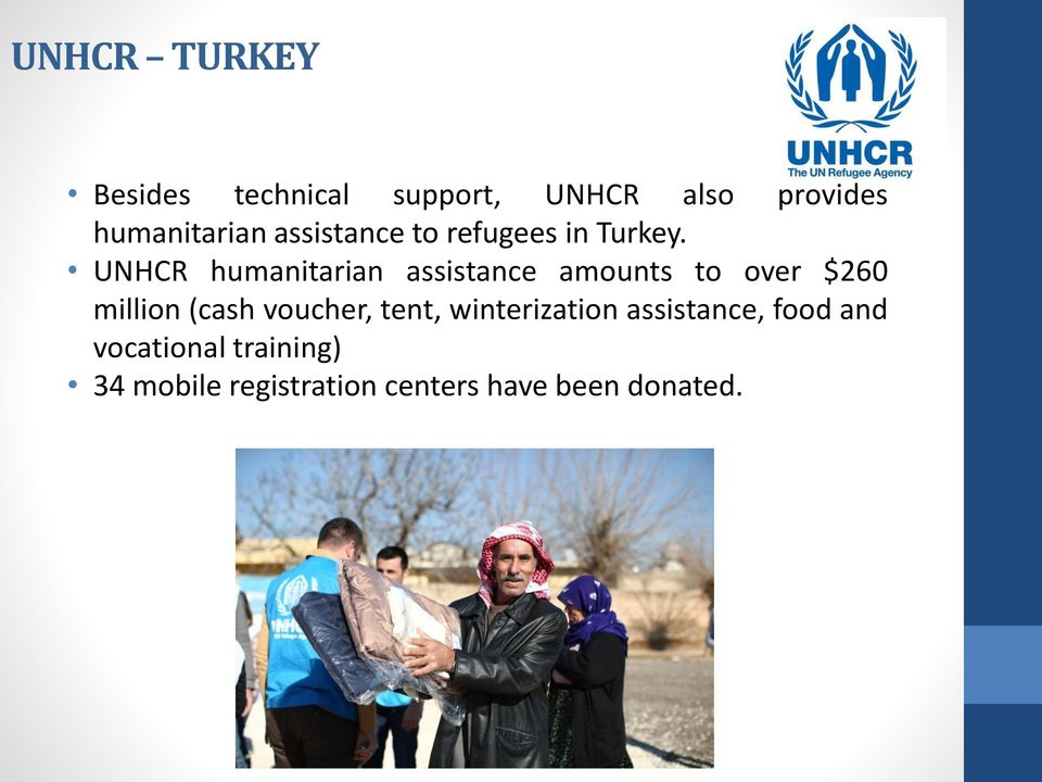 UNHCR humanitarian assistance amounts to over $260 million (cash