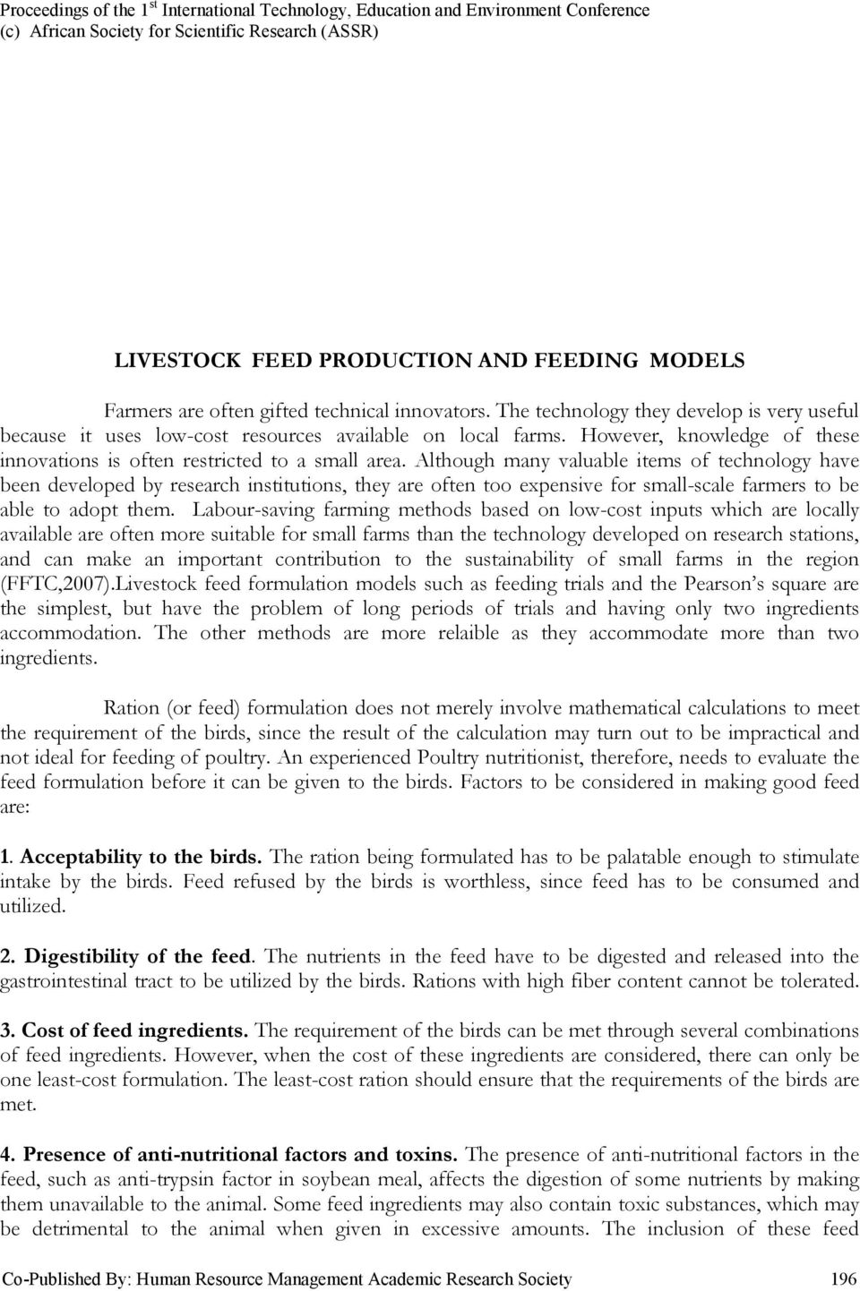 EXCEL FEED FORMULATION AND FEEDING MODELS  F B  Onwurah - PDF