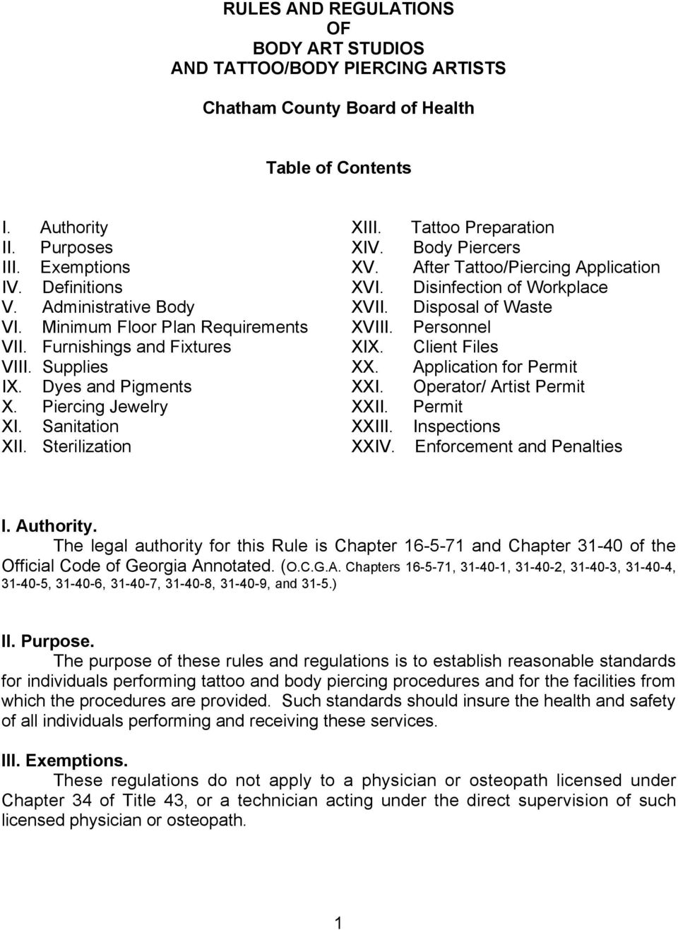 Rules And Regulations Of Body Art Studios And Tattoo Body Piercing Artists Chatham County Board Of Health Table Of Contents Pdf Free Download