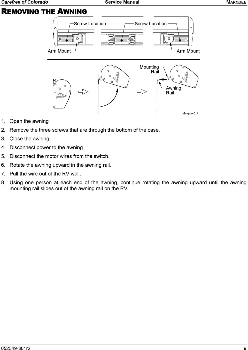 Window And Over The Door Otd Awnings Pdf Rv Awning Wiring Diagram Disconnect Power To 5 Motor Wires From Switch