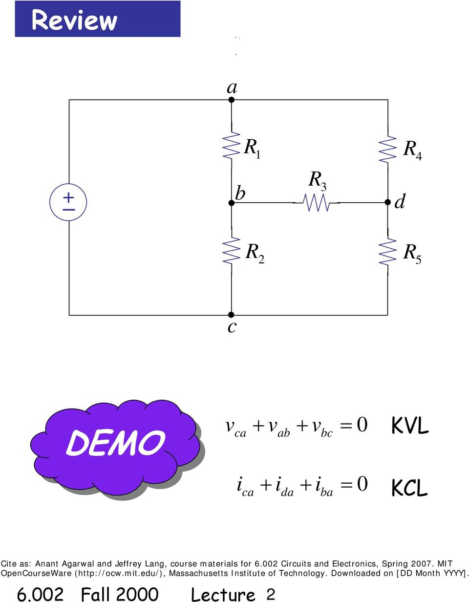 Circuits And Electronics Basic Circuit Analysis Method Kvl Kcl Electrical Solving Technique Loop Mesh Current Jffry Lang Cours Matrials For 6