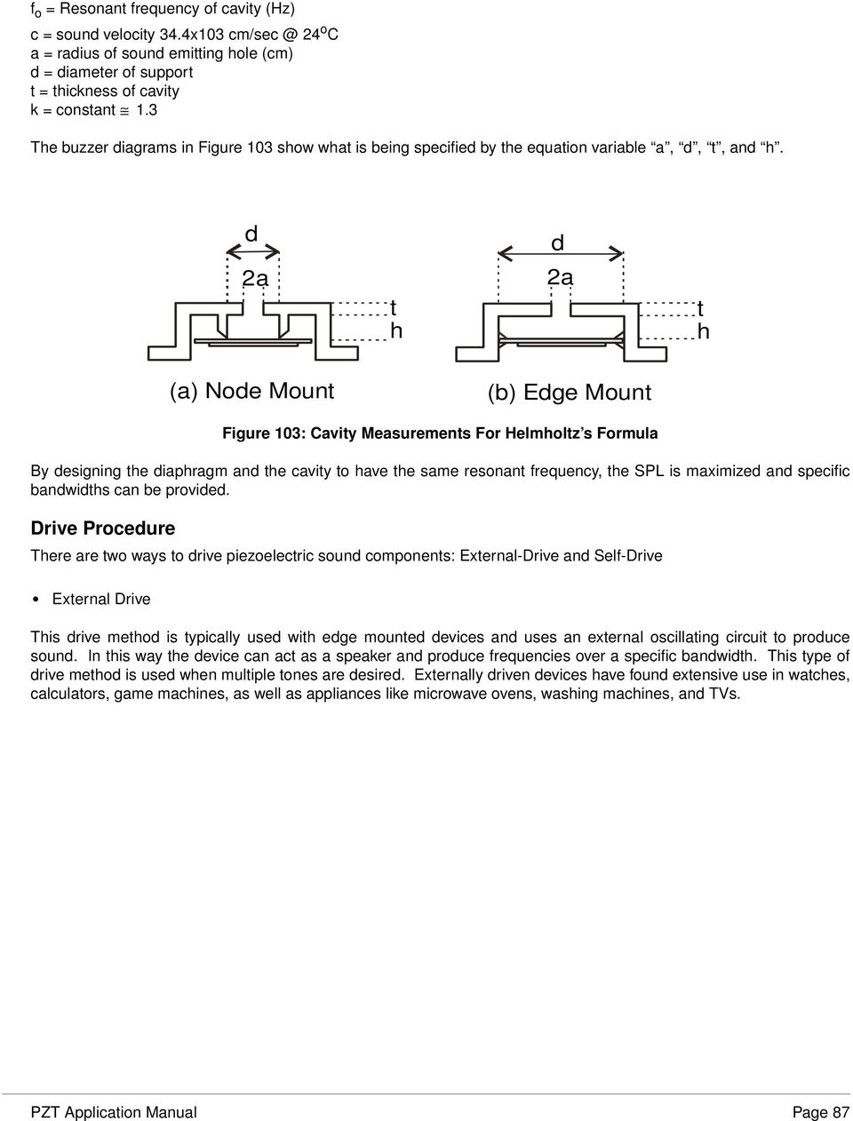 Piezoelectric Sound Components Pdf Sounders Buzzers Are Prepared By D 2a T H A Node Mount B Edge